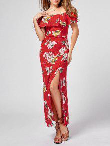 قبالة الكتف سبليت فستان زهري - أحمر M