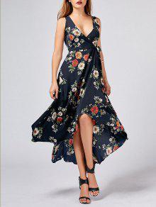 الأزهار طباعة عالية منخفضة التفاف اللباس - Cadetblue رقم M