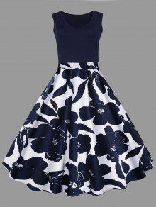 فستان الحجم الكبير طباعة الأزهار ميدي كلاسيكي - الأرجواني الأزرق 5xl