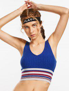 Knit Ribbed Striped Sporty Top - Blue M