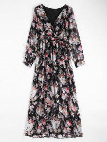 Floral Belted Maxi Surplice Dress - Black M