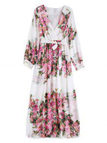 Floral Belted Maxi Surplice Dress - White L