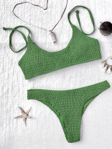 Padded Smocked Bralette Bikini Set - Green M