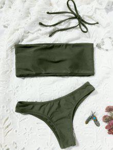 High Cut Bandeau Thong Bathing Suit - Army Green M