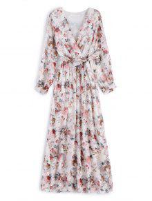 Flower Belted Maxi Surplice Dress - White Xl
