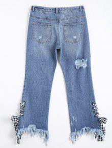 Distressed Lace Up Cutoffs Bootcut Jeans DENIM BLUE: Jeans L   ZAFUL