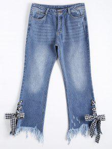 zerrissene bootcut jeans mit spitze cutoffs denim blau. Black Bedroom Furniture Sets. Home Design Ideas