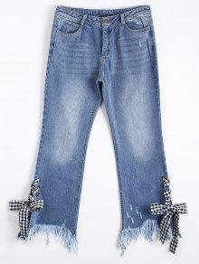 zerrissene bootcut jeans mit spitze cutoffs denim blau jeans m zaful. Black Bedroom Furniture Sets. Home Design Ideas