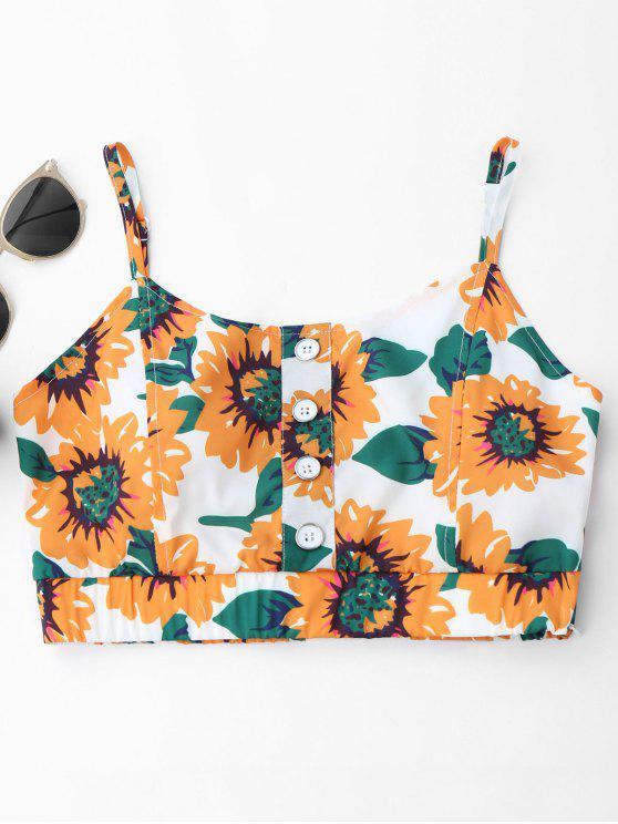 Button Up Sunflower Crop Top - Weiß Eine Größe