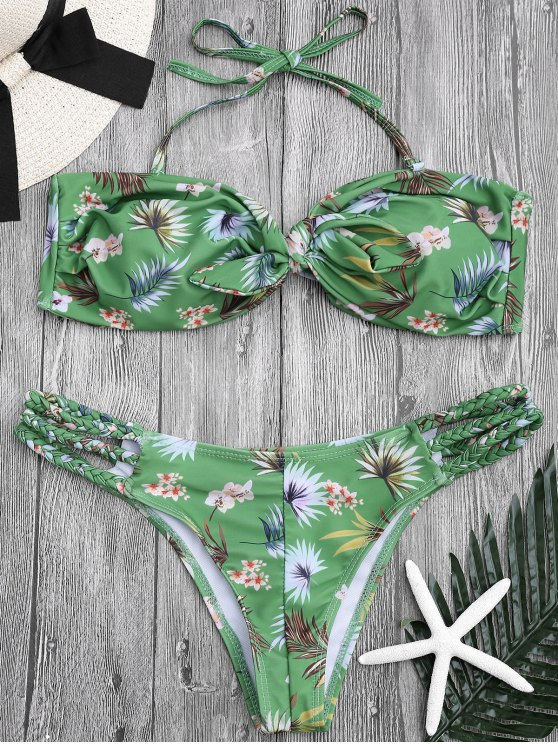 trendy Printed Knotted Bandeau Bikini Set - GREEN L
