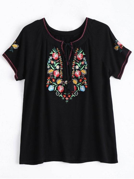 Cordón Borlas Floral Bordado Top - Negro S