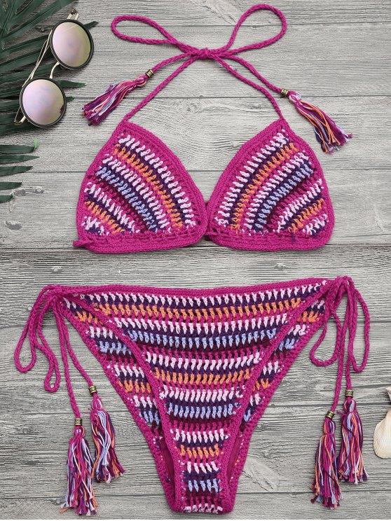 best Halter Crochet Tassel String Bikini - COLORMIX ONE SIZE