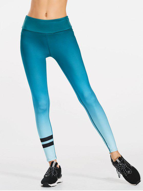 trendy Ombre Slimming Yoga Leggings - BLUE GREEN L