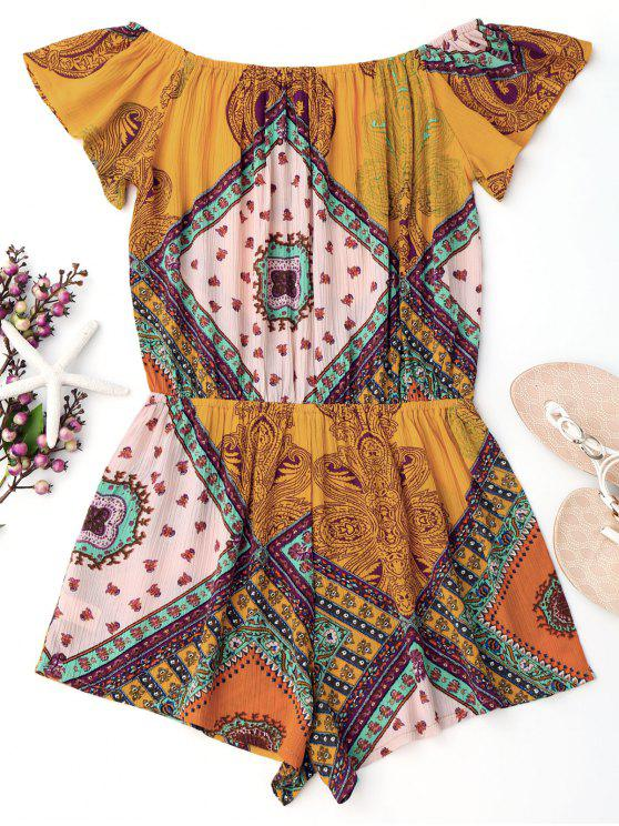 new Printed Off Shoulder Cover Up Romper - YELLOW S