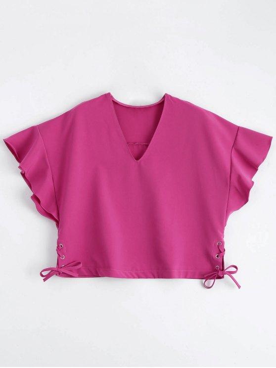 Loose Ruffles Lace Up Top - Rosa Roja L