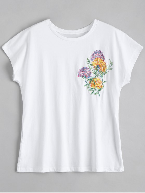 Camiseta floja floral floja del algodón - Blanco XS