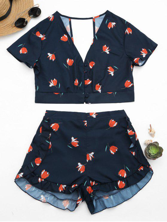 shops Floral Button Up Top and Ruffles High Waisted Shorts - PURPLISH BLUE L