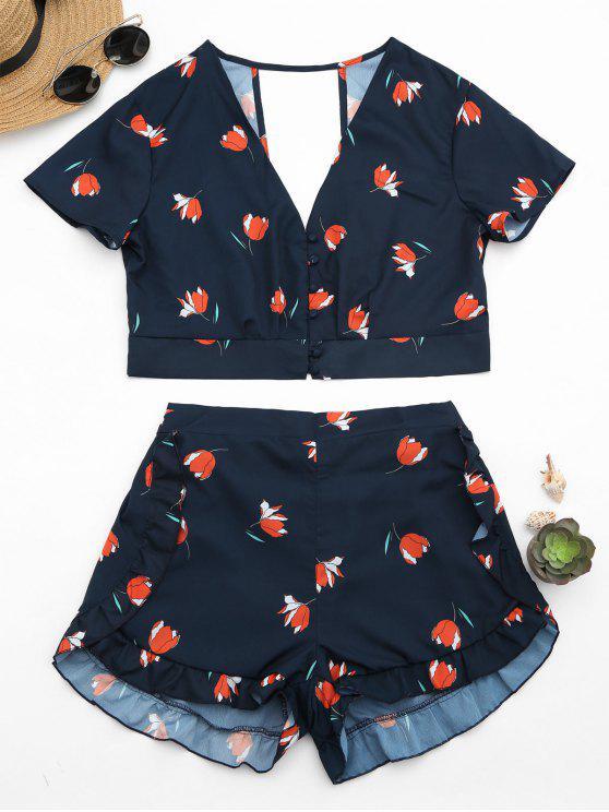 Top mit Blumenmuster , Knöpfe und Shorts mit Rüschen , hoher Taille - Schwarzblau S
