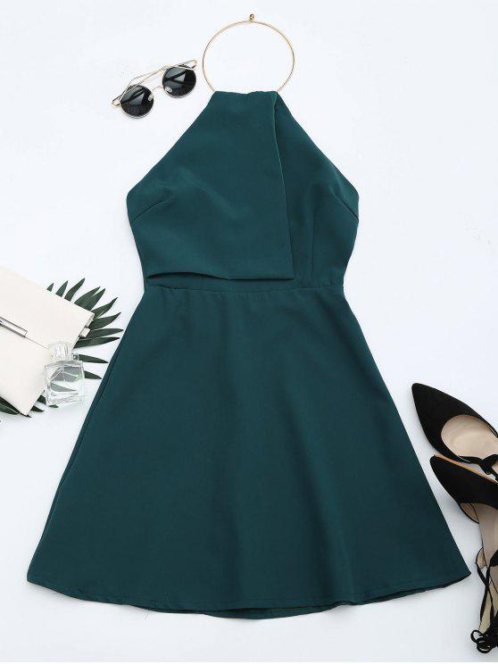Open Back Ring Halter Flare Dress - Verde Escuro XL