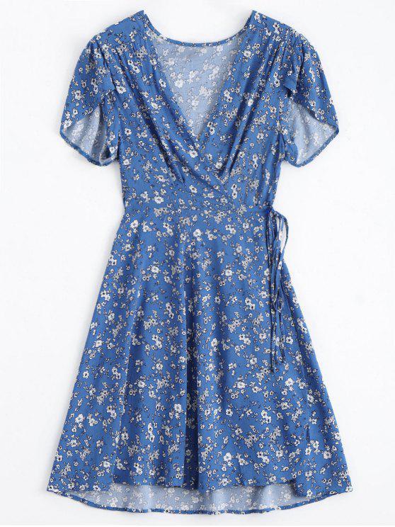 Winziger Blumen Niedriges Hals Wickel Kleid - Blau L