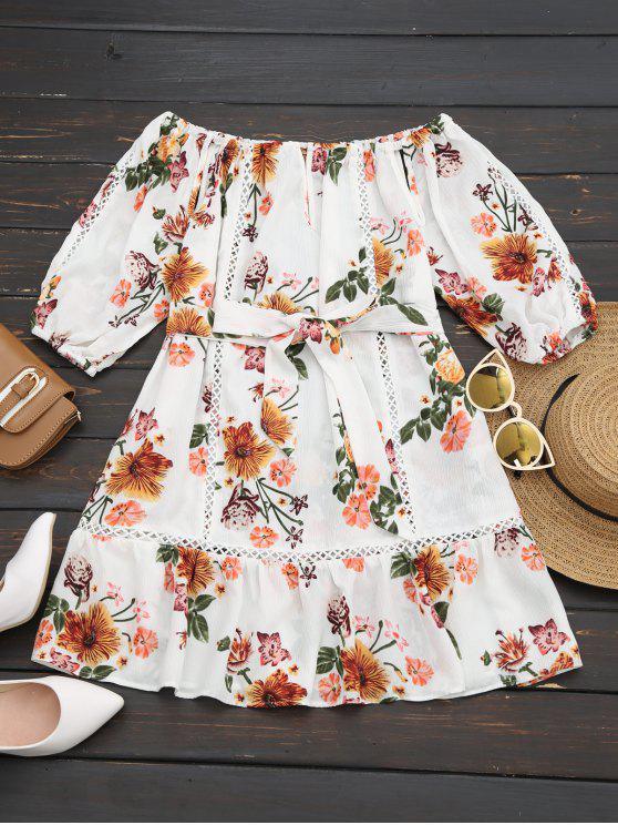 Vestido Floral OMbro de Fora Com Babados e Cinto - Branco M