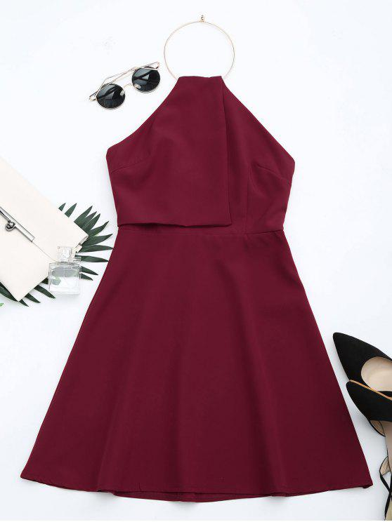 Open Back Ring Halter Flare Dress - Vermelho Escuro L