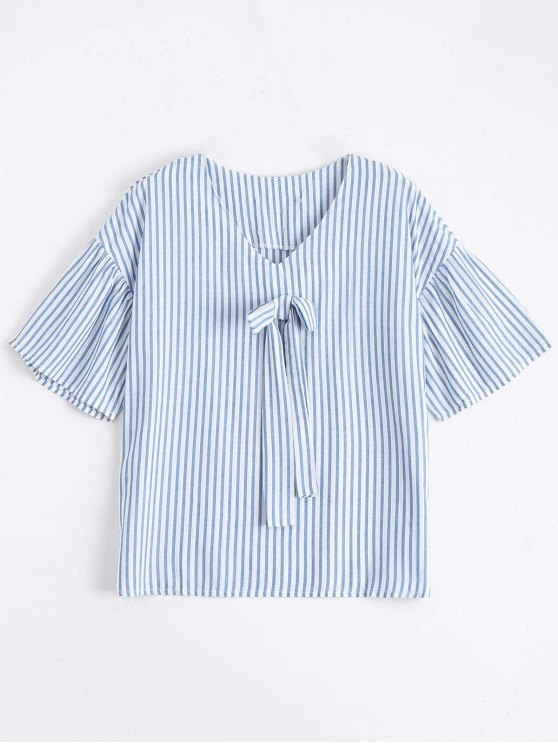 Loose Stripes Bowknot Top - Raya L