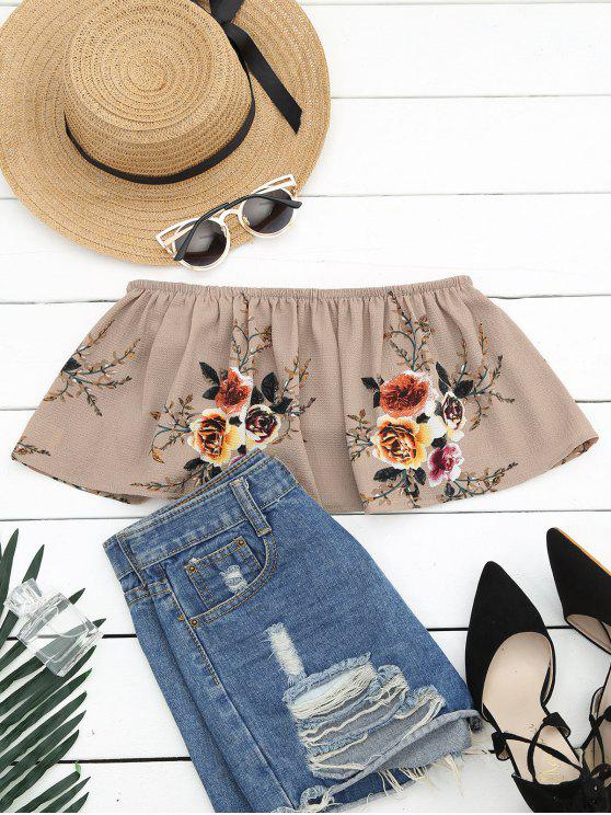 affordable Smocked Ruffles Floral Cropped Tube Top - KHAKI S