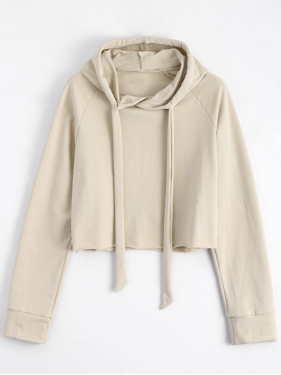 new Casual Loose String Hoodie - LIGHT KHAKI S