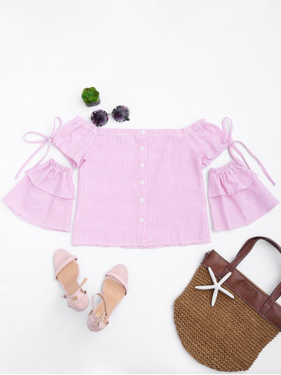 fashion Button Up Stripes Off Shoulder Top - PINK STRIPE S