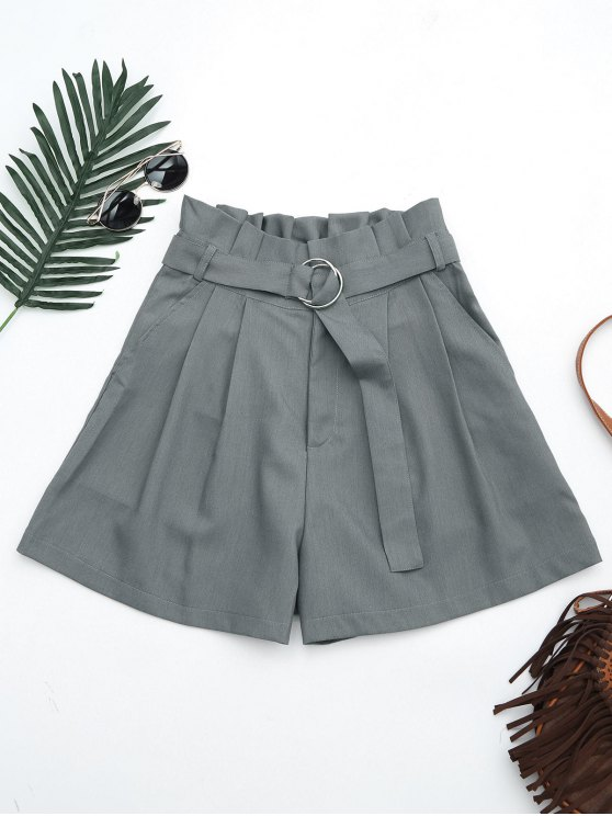 chic Ruffles Belted Wide Legged Paperbag Shorts - GRAY L