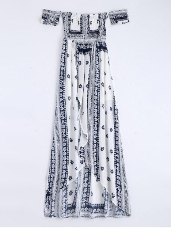 women Off Shoulder Smocked Printed Front Slit Maxi Dress - WHITE S