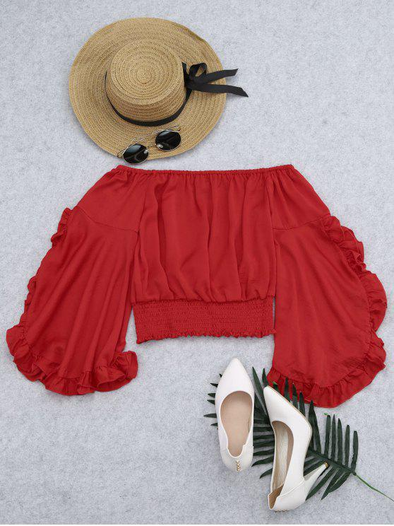 online Ruffled Off Shoulder Smocked Blouse - RED L