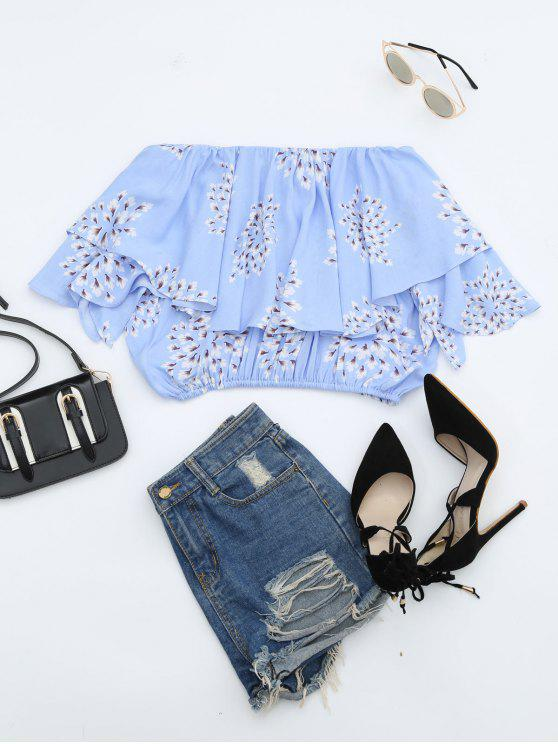 latest Flower Off Shoulder Overlay Cropped Blouse - LIGHT BLUE M