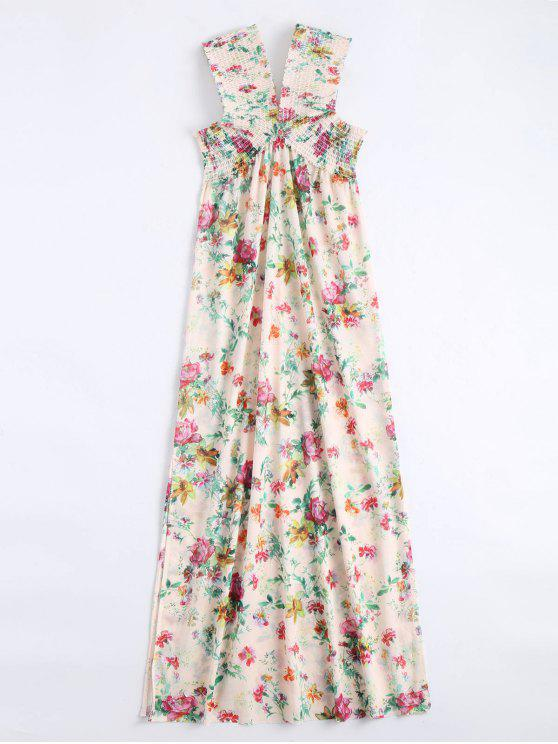 affordable Off Shoulder Side Slit Smocked Floral Maxi Dress - FLORAL L