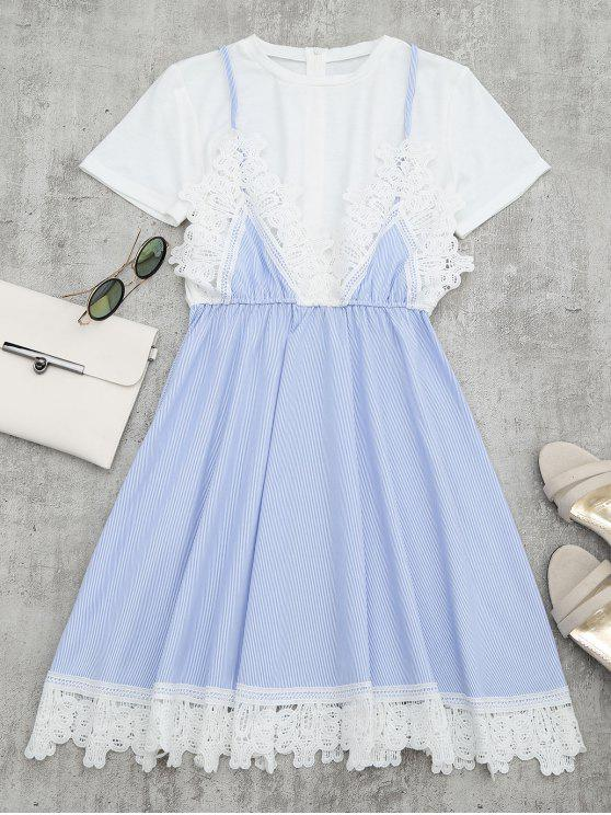 women Lace Panel Striped Faux Twin Set Dress - LIGHT BLUE L