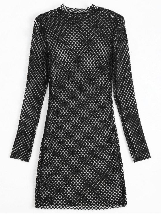 lady Long Sleeve Sheer Bodycon Dress - BLACK S