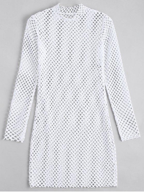 Robe Ajustée Transparente à manches longues - Blanc S