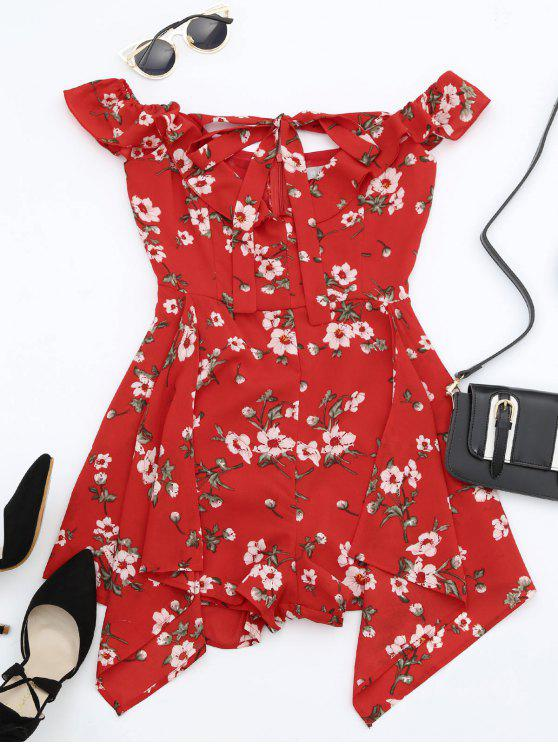 unique Ruffles Halter Floral Asymmetric Romper - RED L