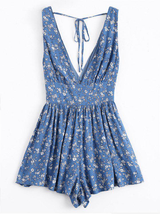sale Tiny Floral Plunging Neck Smocked Romper - BLUE S