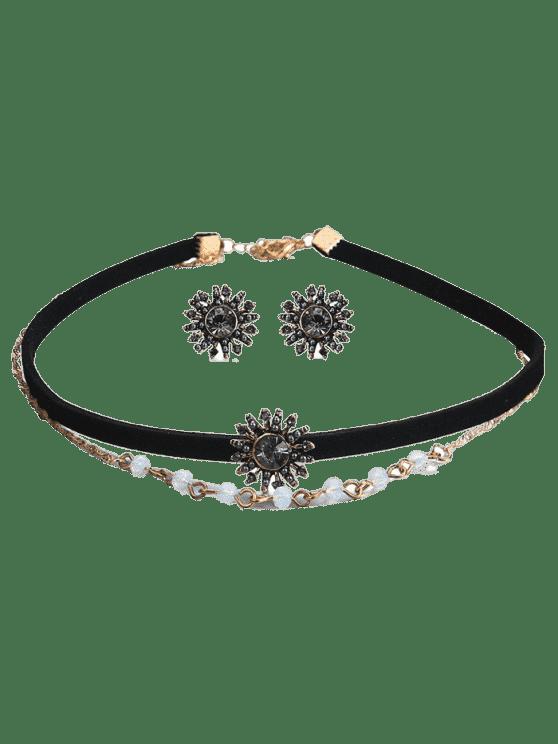womens Rhinestoned Sun Choker Necklace and Earring Set - BLACK