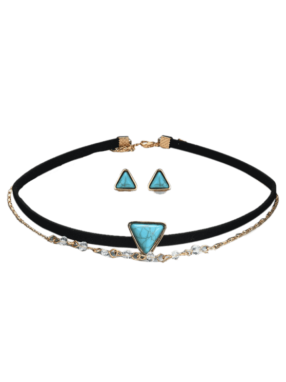 ladies Faux Turquoise Earring and Choker Necklace Set - BLACK