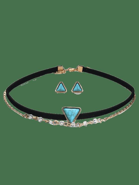 Choker Halskette mit Ohrring Set aus Faux Türkis - Schwarz