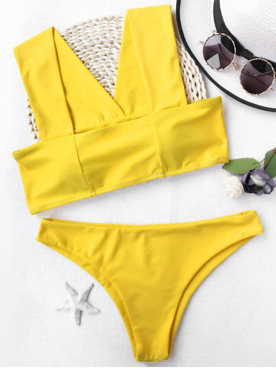unique Wide Straps Padded Square Cut Bikini Set - YELLOW M