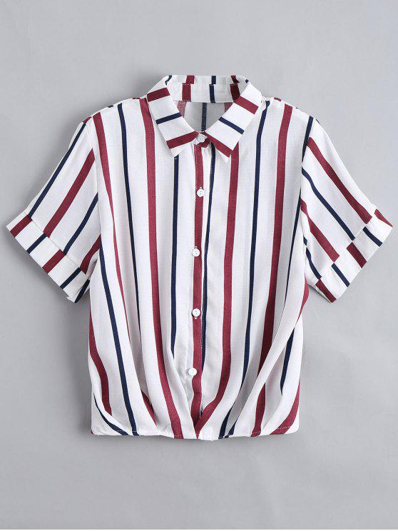 Botón de las rayas sueltas camisa - Azul Purpúreo Única Talla