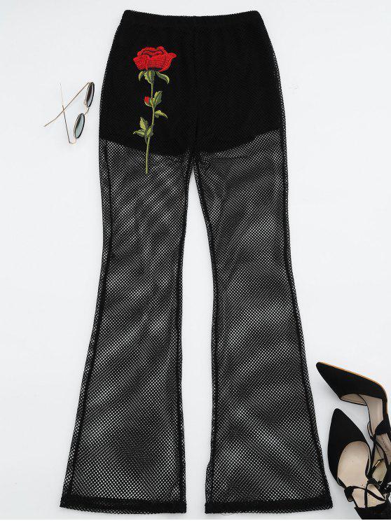 outfit Floral Patched Fishnet Boot Cut Pants - BLACK XL