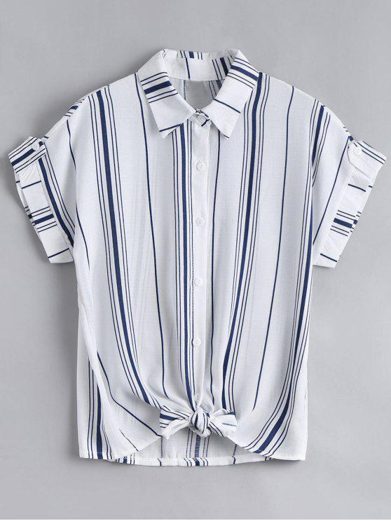 womens Button Down Stripes Bowknot Top - STRIPE ONE SIZE