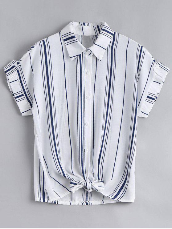 womens Button Down Stripes Bowknot Top - STRIPE ONE SIZE