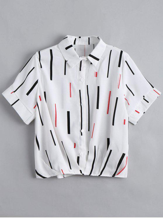 women's Button Down Vertical Print Top - WHITE ONE SIZE