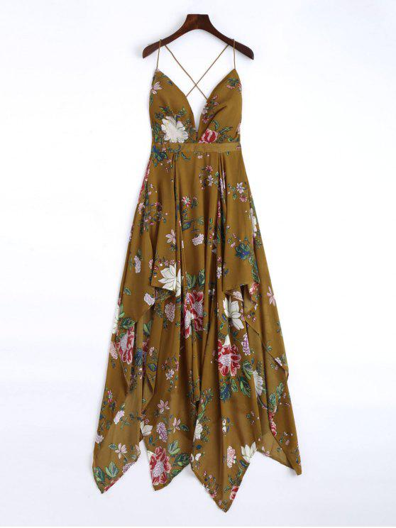 2018 Cami Cross Back Floral Maxi Handkerchief Dress In Brown S Zaful
